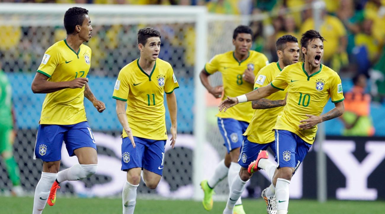 Neymar, right, will look to lead Brazil against Mexico after scoring two goals in the World Cup host nation's opening game against Croatia.