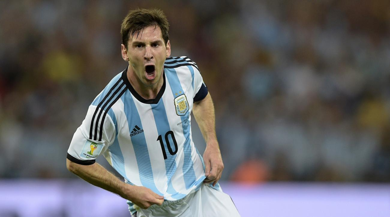 Lionel Messi celebrates his second-half goal against Bosnia-Herzegovina, the second goal of his World Cup career.
