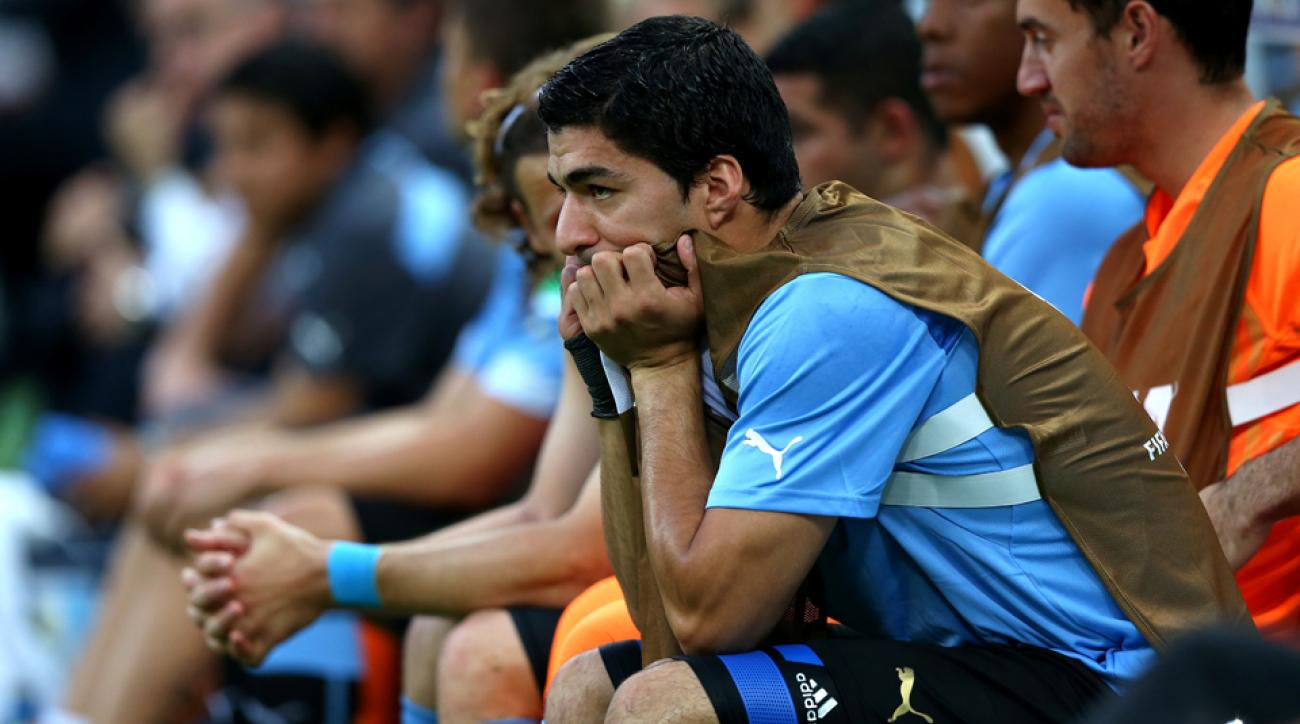 Luis Suarez could only sit and watch as Uruguay fell to Costa Rica in its World Cup opener, but he says he'll be good to go against England.