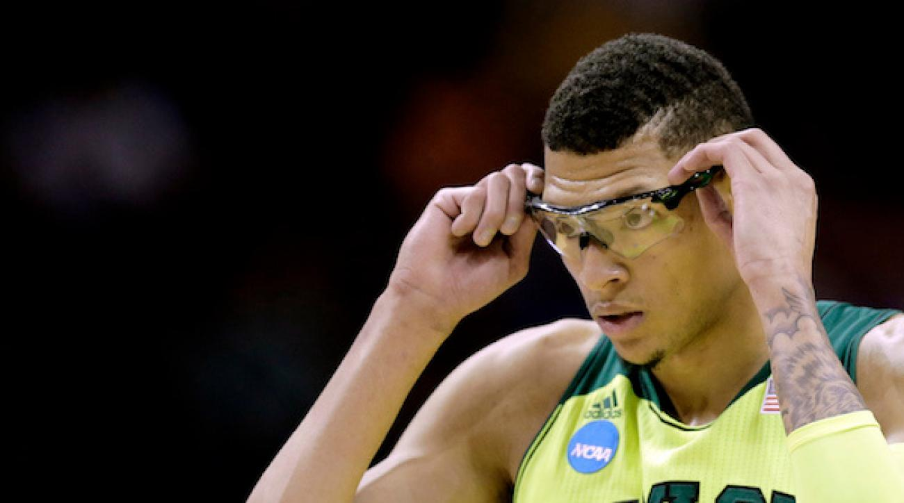 Baylor's Isaiah Austin adjusts his glasses during a game against Nebraska