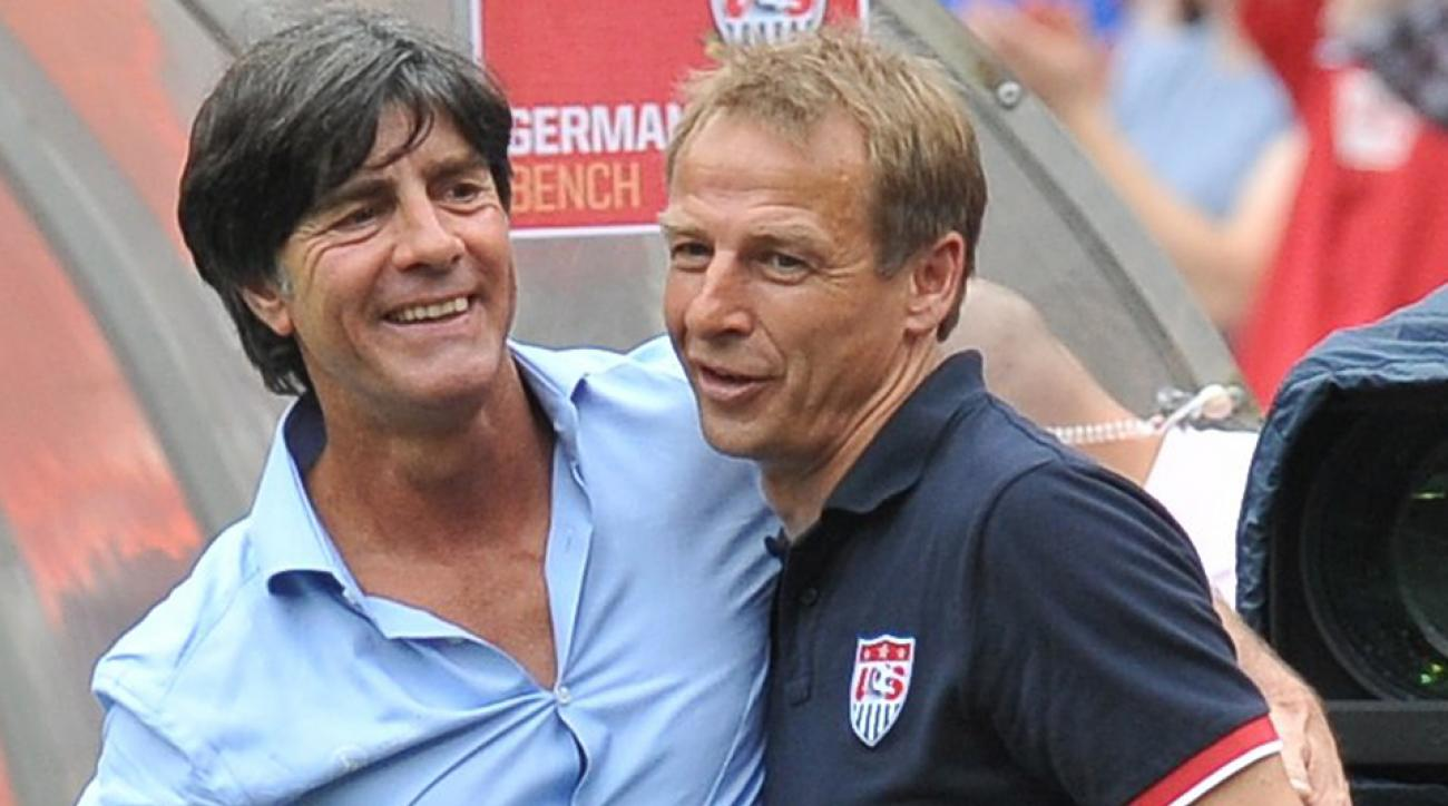 Managers Jurgen Klinsmann, right, and Joachim Low are friends and former colleagues, but they'll be vying for World Cup advancement against one another on Thursday.