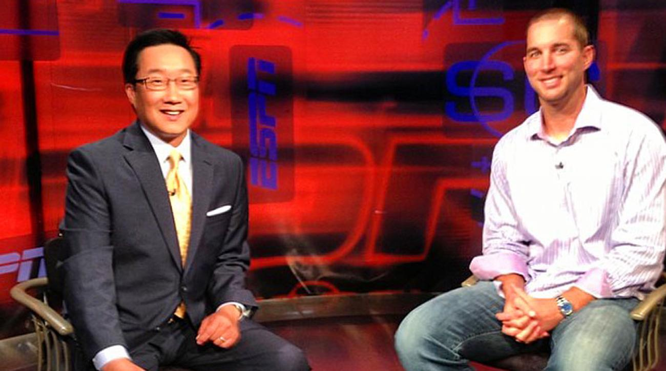 Michael Kim (left), a former ESPN SportsCenter anchor, will be the lead host of 120 Sports.