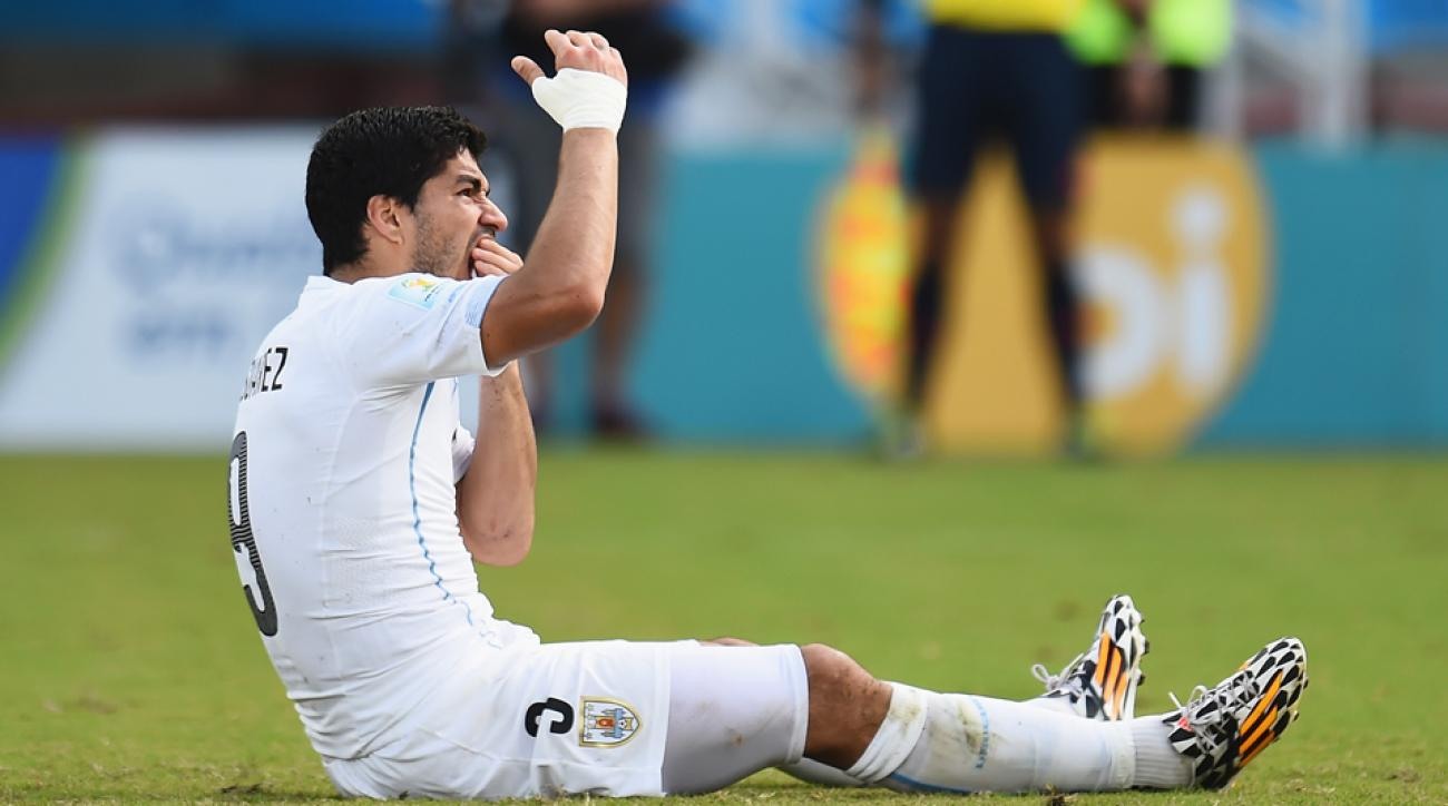Luis Suarez won't be on a soccer field until the end of October after being banned for another biting incident.