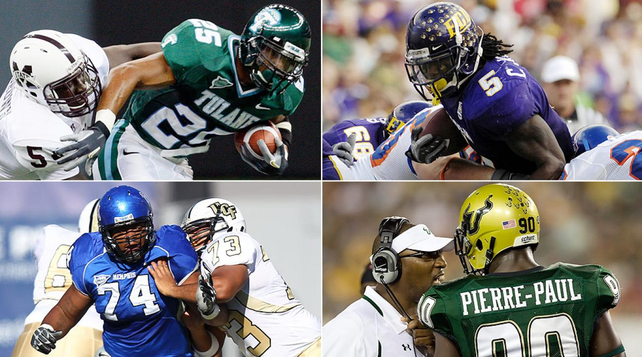 Clockwise from top left: Matt Forte at Tulane, Chris Johnson at ECU, Jason Pierre-Paul at UCF, Dontari Poe at Memphis