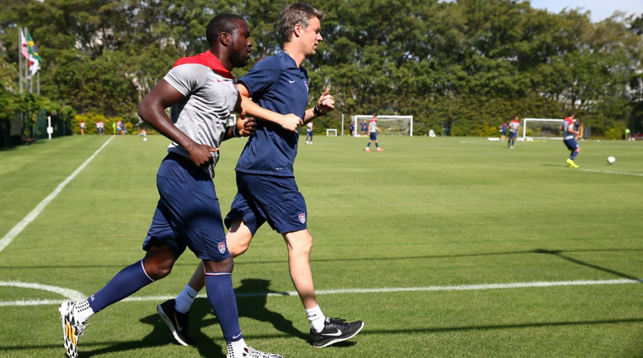 U.S. forward Jozy Altidore, left, jogs around the training field at Sao Paulo FC on Friday as he tries to recover from a hamstring injury in time to face Belgium on Tuesday.
