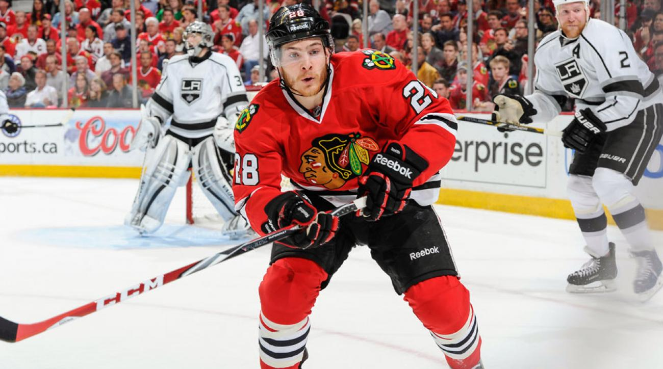 Ben Smith, pictured, and Antti Raanta signed two-year extensions with the Blackhawks today.