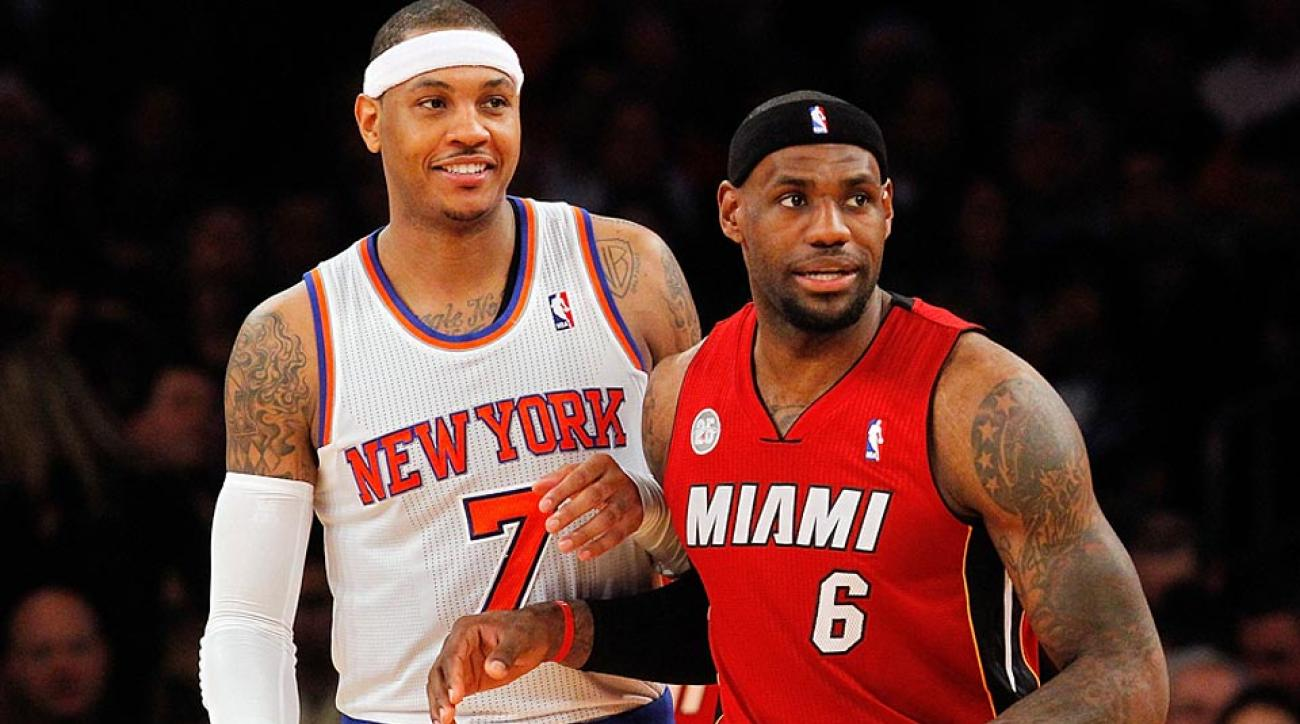 Carmelo Anthony (left) and LeBron James headline the NBA's free-agent class this summer.