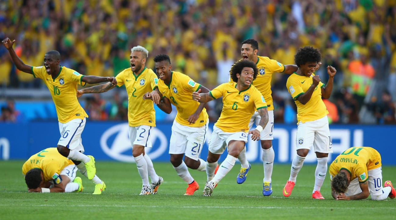 Emotional Brazil players celebrate after outlasting Chile in a dramatic penalty shootout to advance from the round of 16.