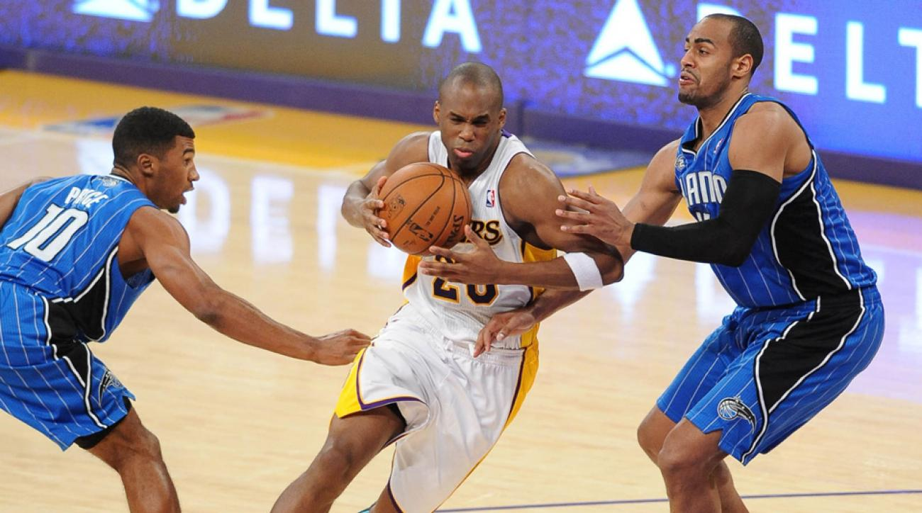 Jodie Meeks (center) attempted a career-high 404 three-pointers last season.