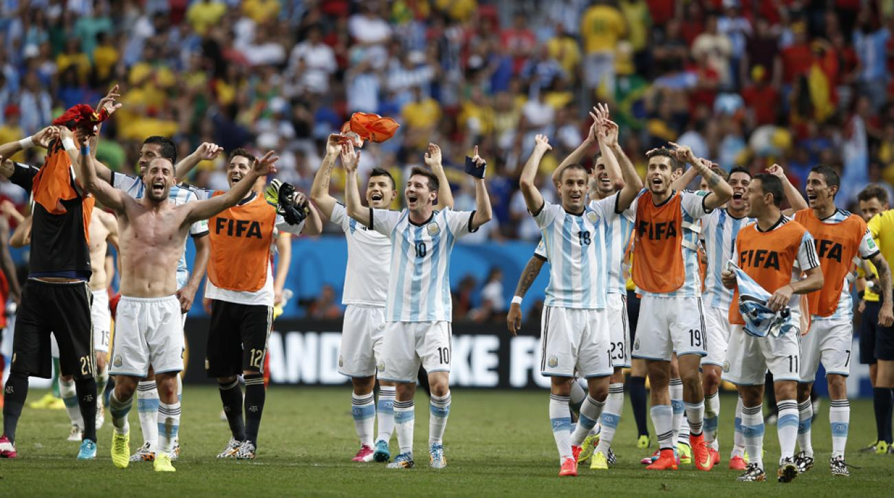 Lionel Messi (10) leads the cheers for Argentina after the Albiceleste dispatched Belgium to reach the World Cup semifinals for the first time since 1990.