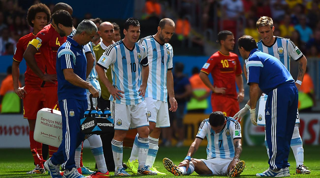 Angel di Maria strained a muscle in the back of his right thight during the first half of Argentina's quarterfinal win over Belgium.