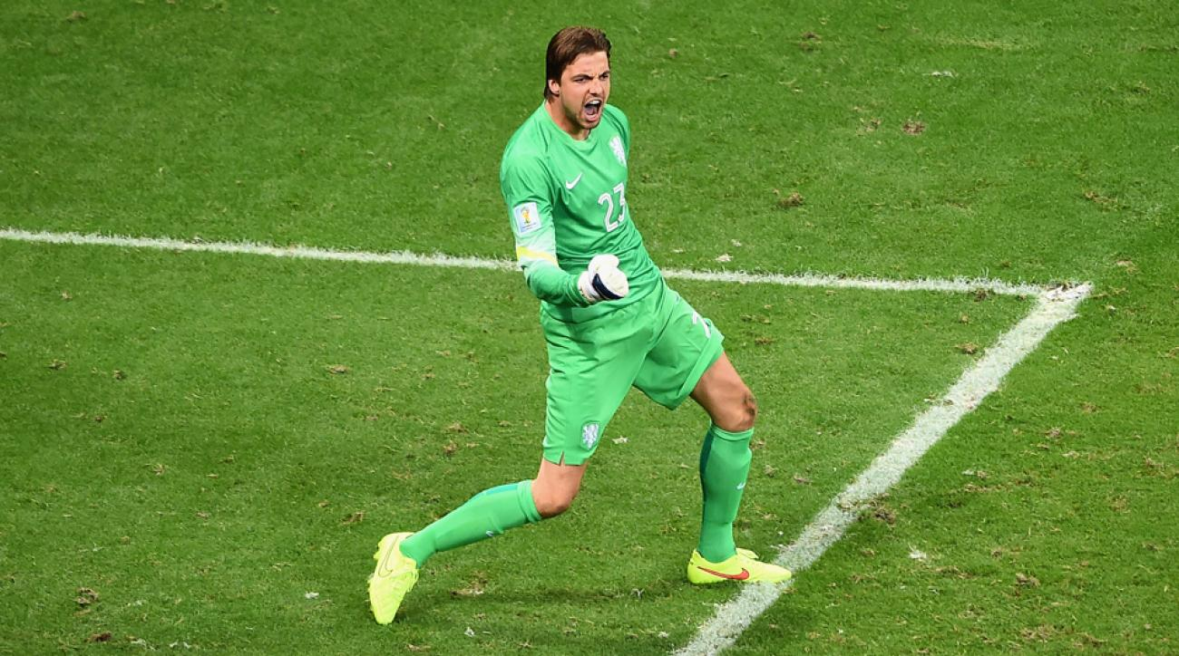 Netherlands backup goalkeeper Tim Krul celebrates after making a save during Saturday's penalty shootout victory over Costa Rica in the World Cup quarterfinals.