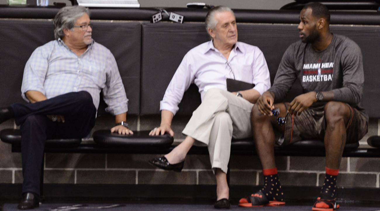 LeBron James (right) and Pat Riley (center) are set to meet this week.