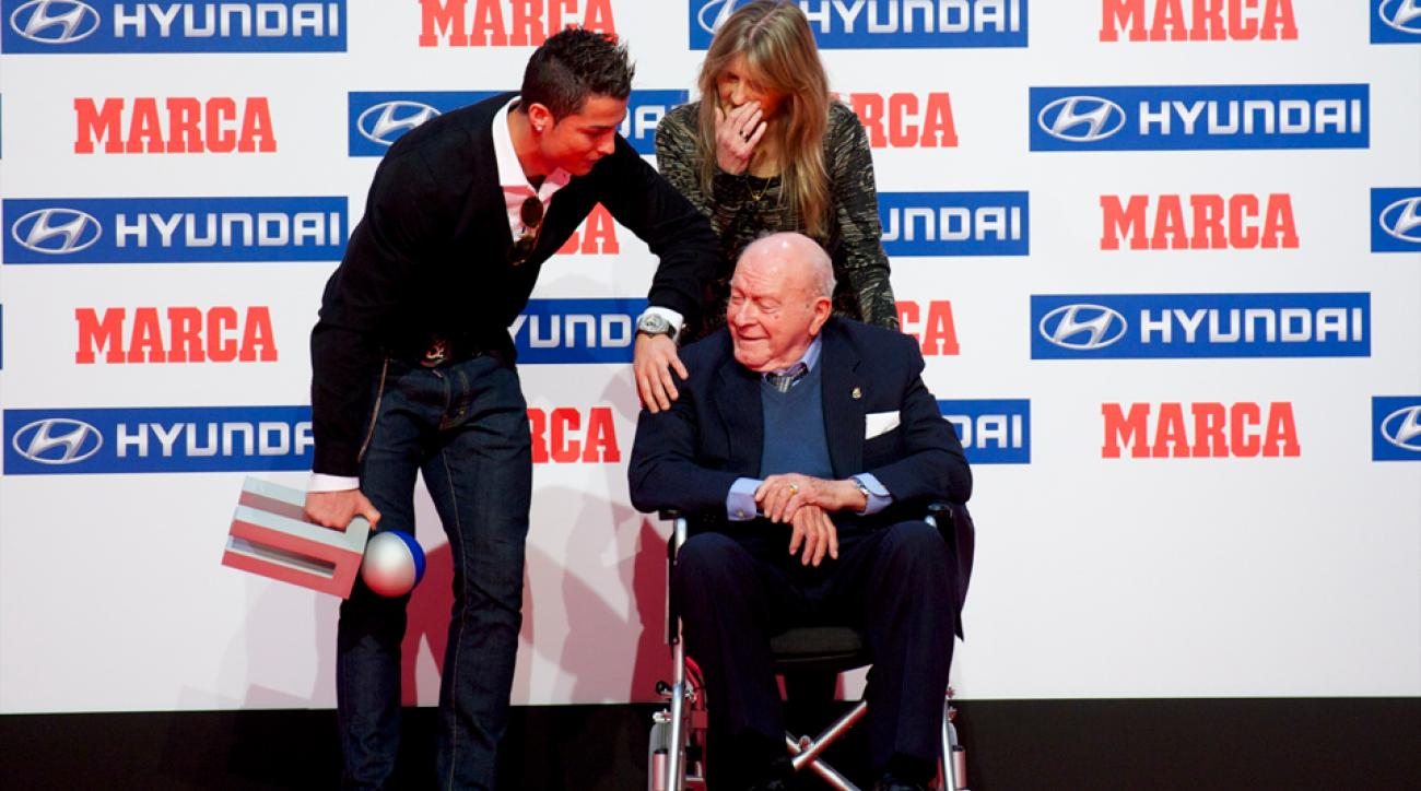 From one Real Madrid legend to another: Alfredo Di Stefano presents Cristiano Ronaldo with the Alfredo Di Stefano Award, given by Spanish outlet Marca to La Liga's player of the season.