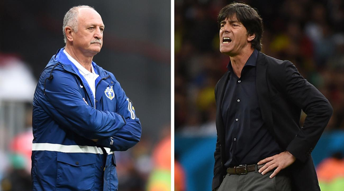 Brazil manager Luiz Felipe Scolari, left, and Germany manager Joachim Low have sacrificed style for the substance of victory in leading their teams to the World Cup semifinals.