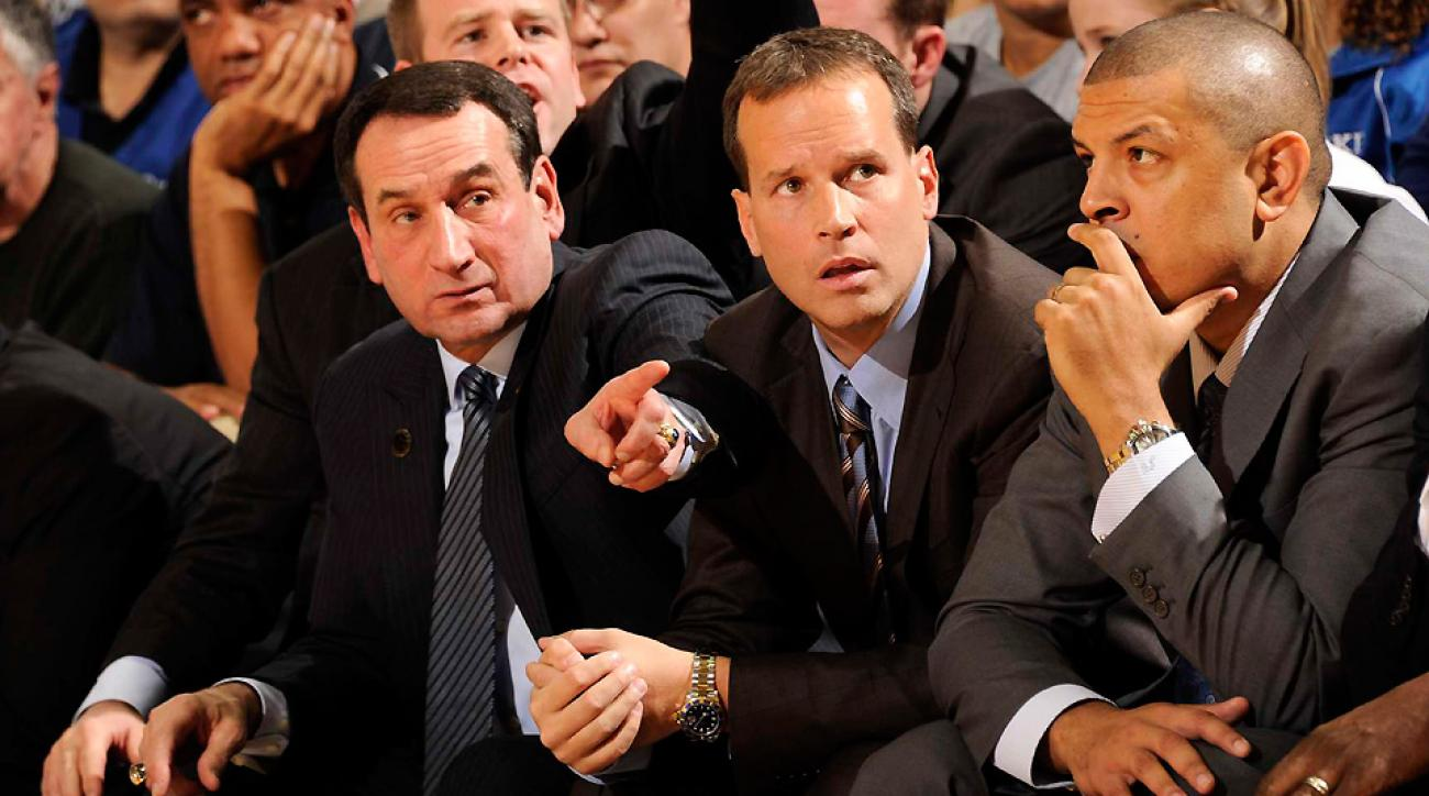 Mike Krzyzewski (L) will almost certainly have a hand in picking his successor, and former assistant Chris Collins (center) or current associate head coach Jeff Capel (R) could be top choices.