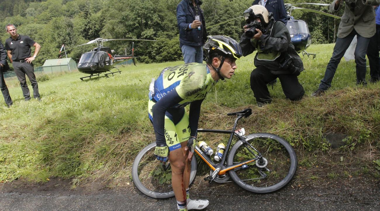 Alberto Contador drops out of Tour de France after crashing.