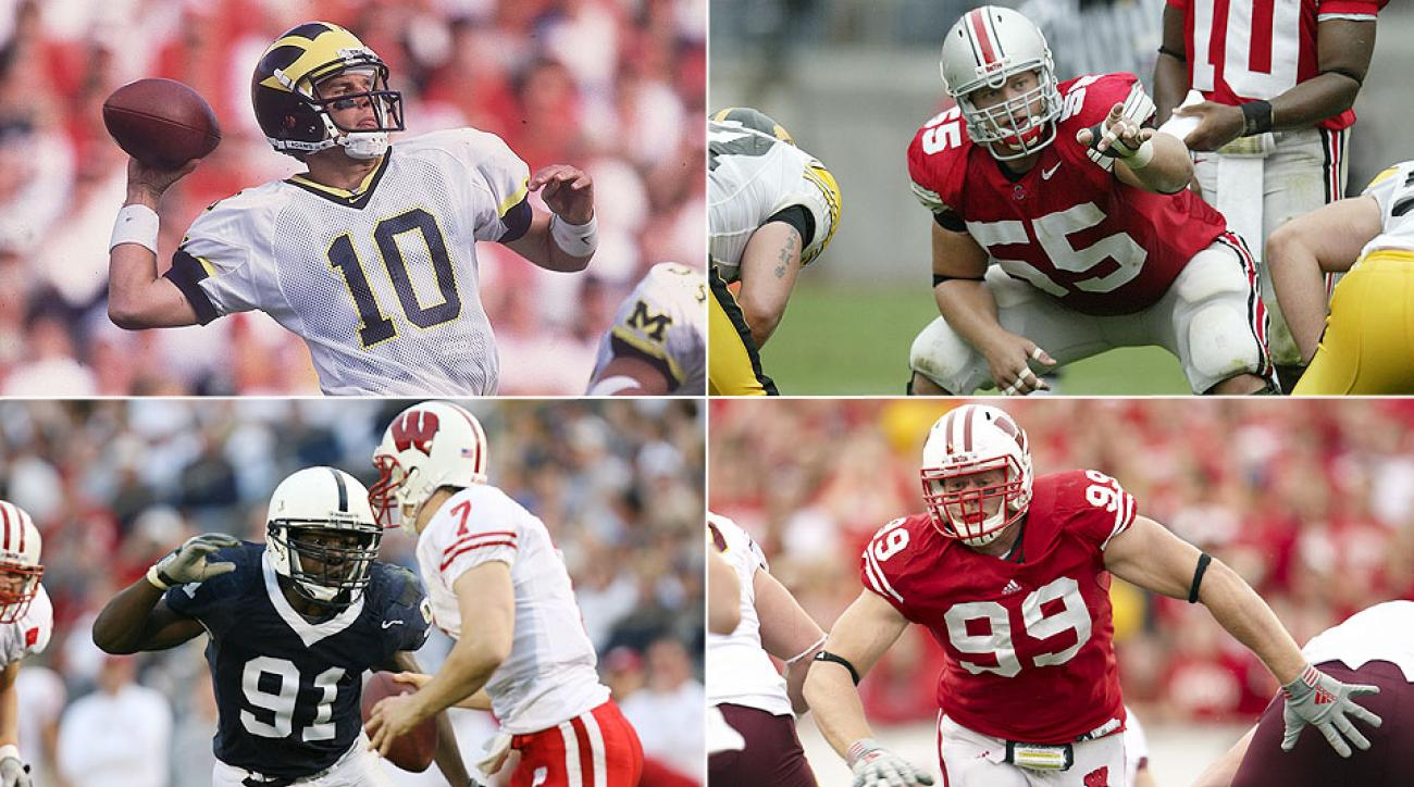 Clockwise from top left: Tom Brady at Michigan; Nick Mangold at Ohio State; J.J. Watt at Wisconsin; Tamba Hali at Penn State