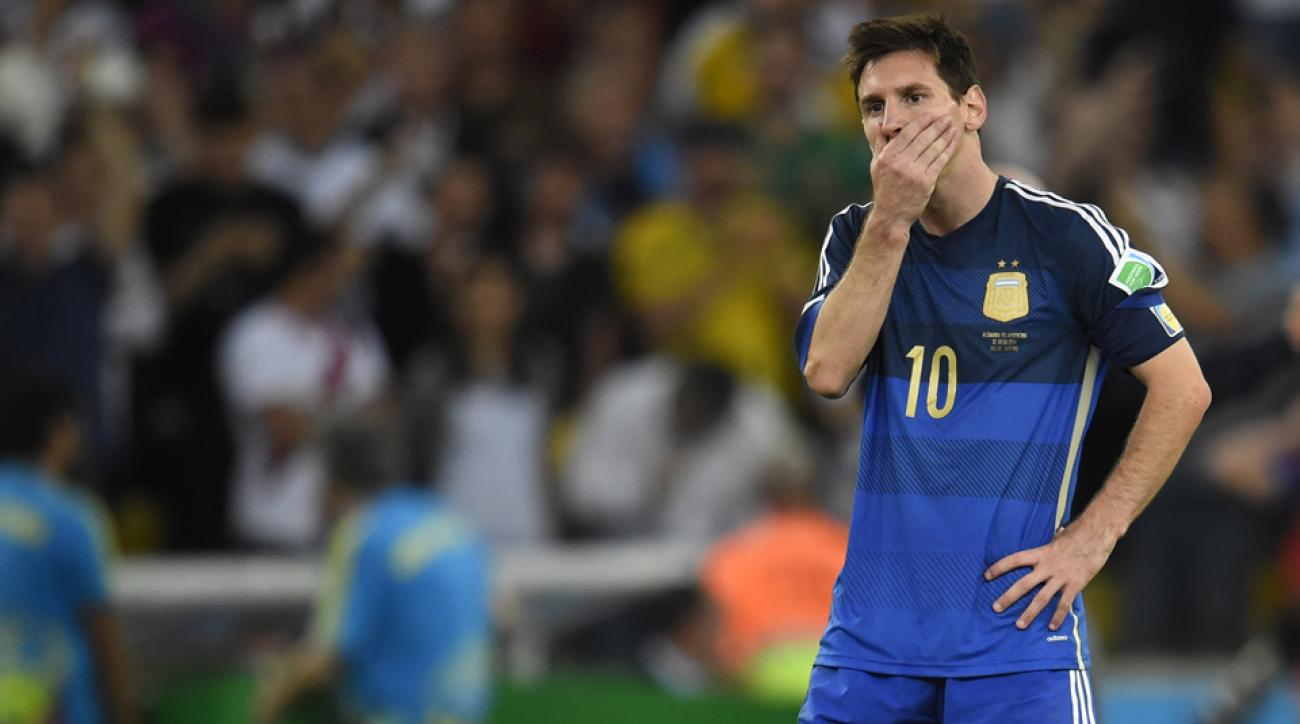 Lionel Messi reacts after Argentina's extra-time loss to Germany in the World Cup final in Rio de Janeiro.