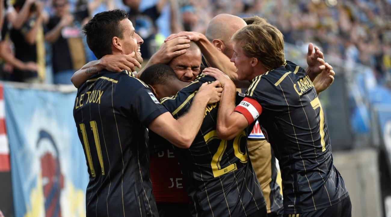 The Philadelphia Union celebrate Fred's goal during a 3-1 win over the New York Red Bulls on Wednesday.