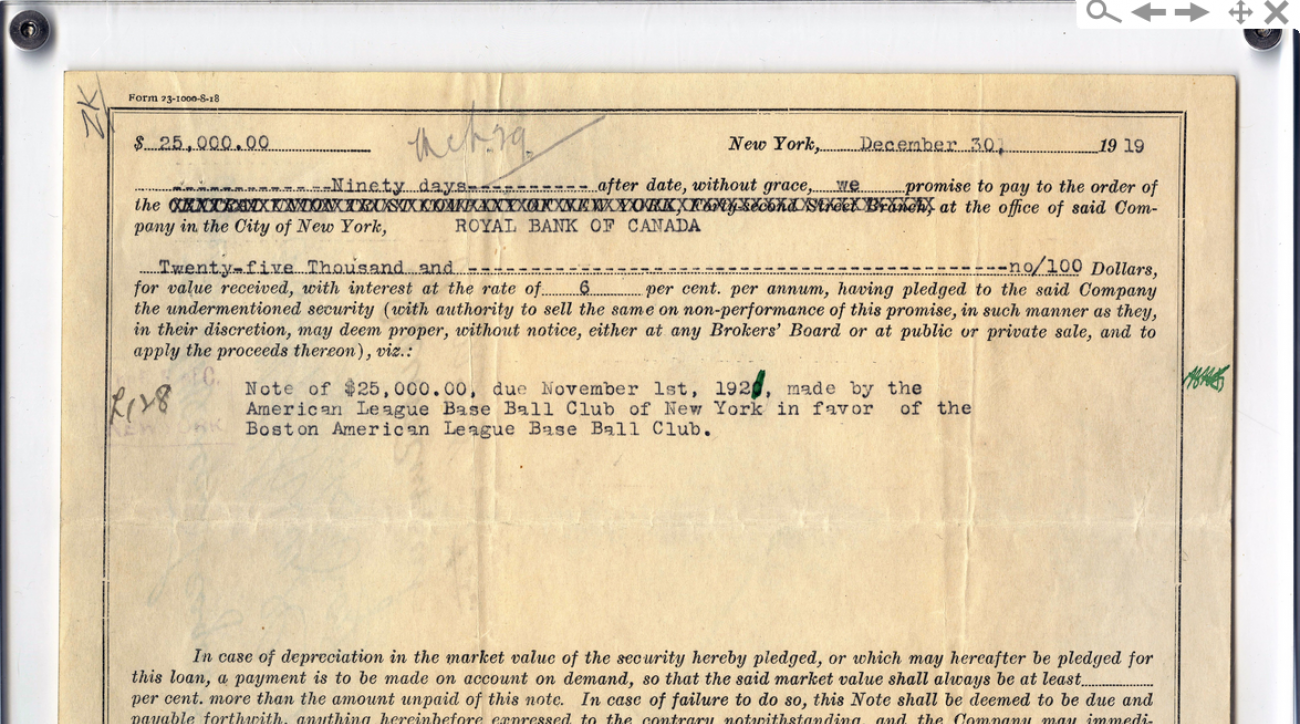 This promissory note from Babe Ruth's sale to the New York Yankees sold at auction for $151,250