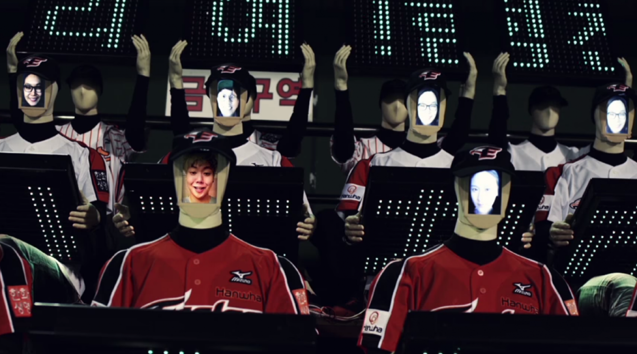 hanwha eagles korean baseball robot fans