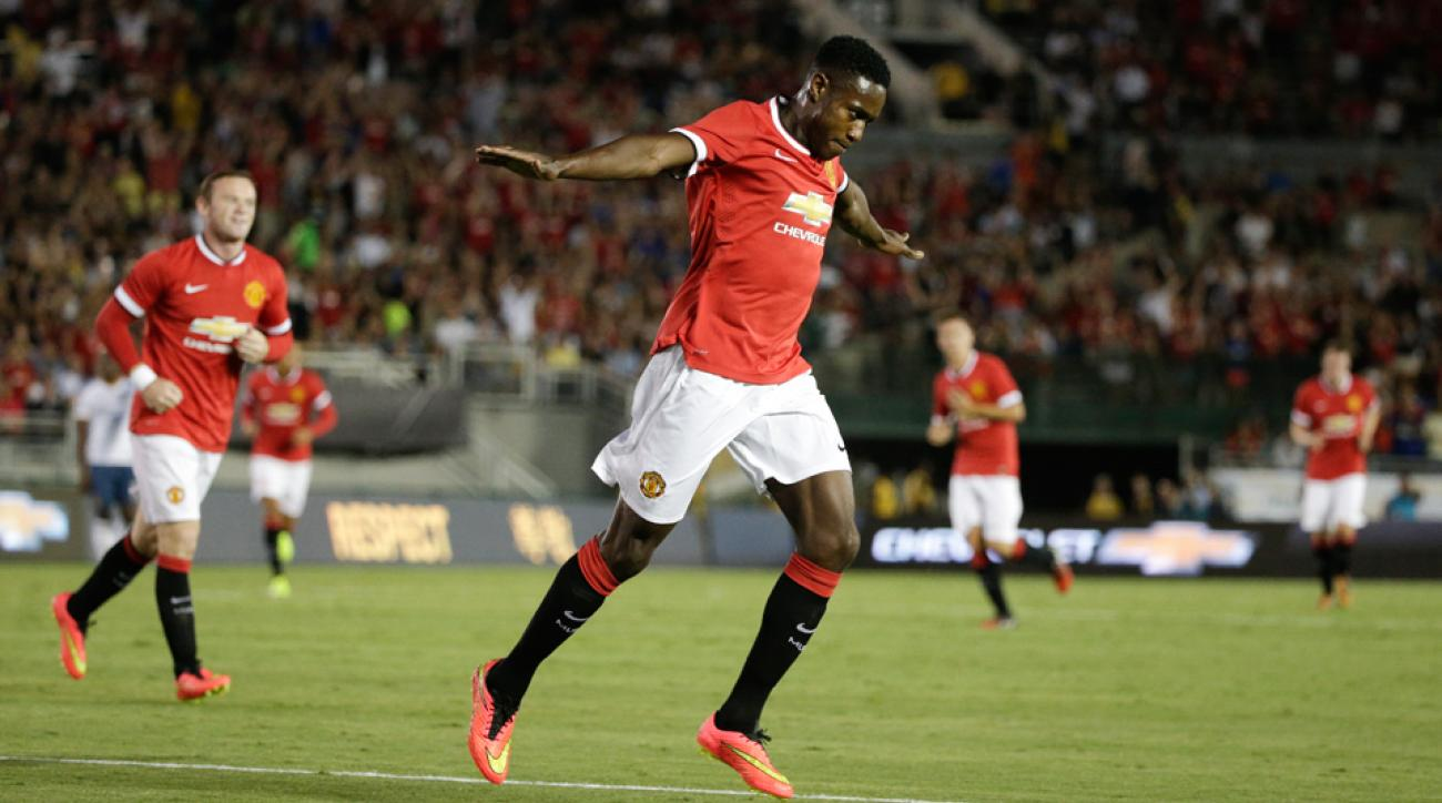 Danny Welbeck celebrates after scoring in Manchester United's 7-0 rout of the LA Galaxy on Wednesday night.