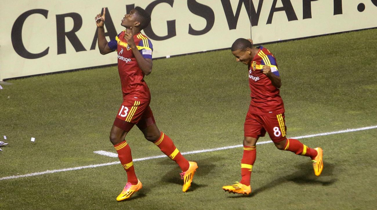 Olmes Garcia, left, celebrates one of his two goals off the bench in RSL's 3-1 win over Montreal Thursday night.