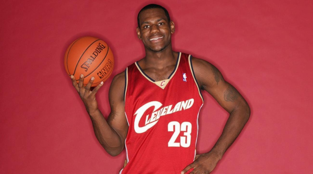 d294e28f79ef LeBron James sports a Cavaliers jersey bearing No. 23 during his 2003  rookie photo shoot