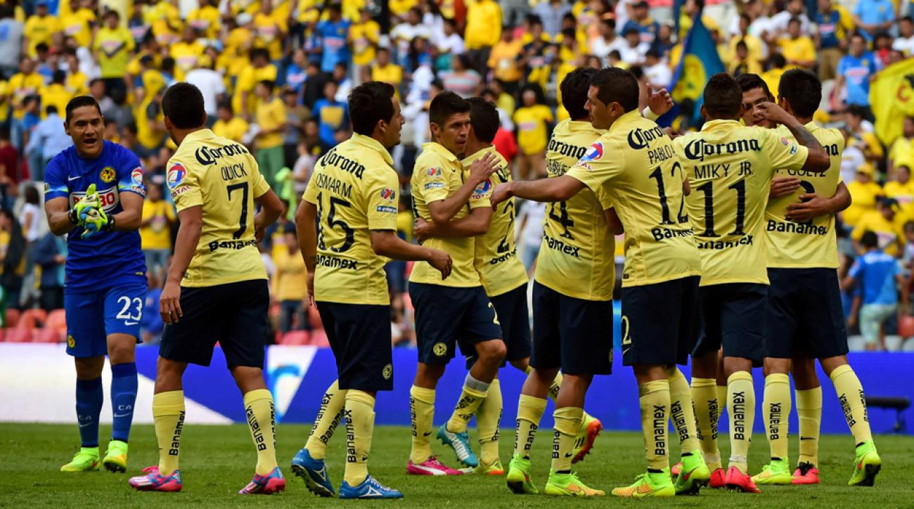 Club America players celebrate their last-gasp win over Club Tijuana in Liga MX Week 2.