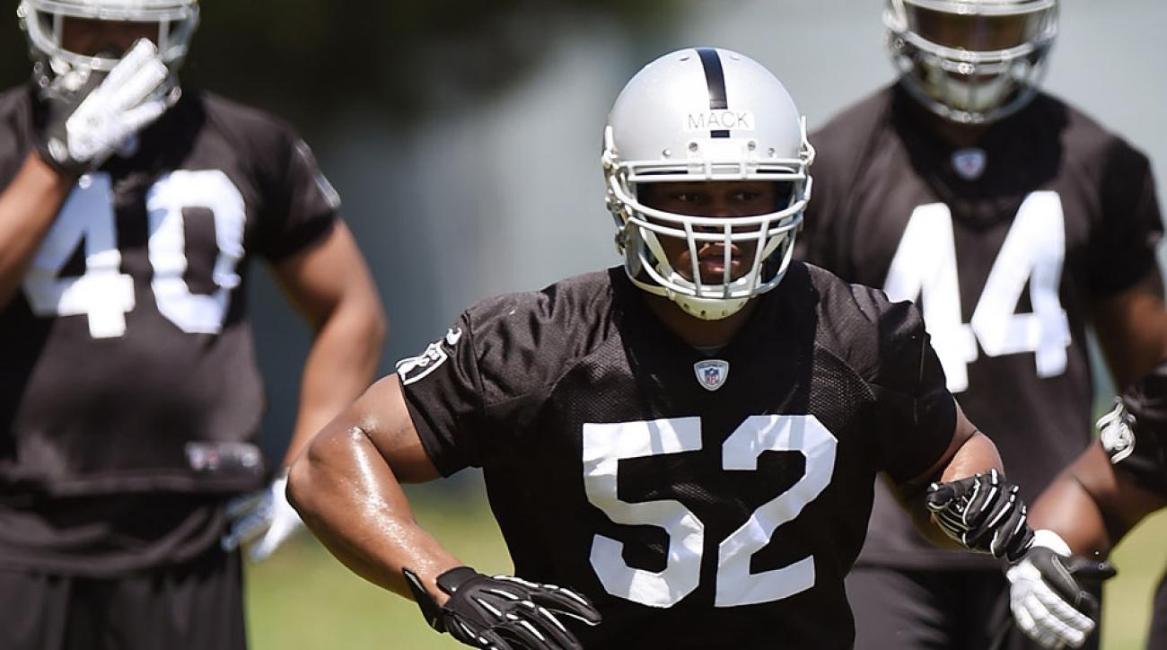 Raiders rookie Khalil Mack works out at Rookie Minicamp in May
