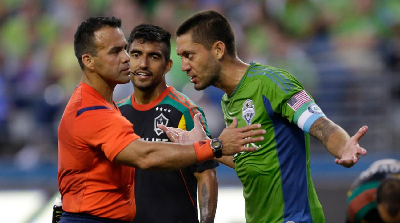 Seattle Sounders and USA star Clint Dempsey expresses his opinion to referee Hilario Grajeda during Monday night's 3-0 loss to the LA Galaxy.