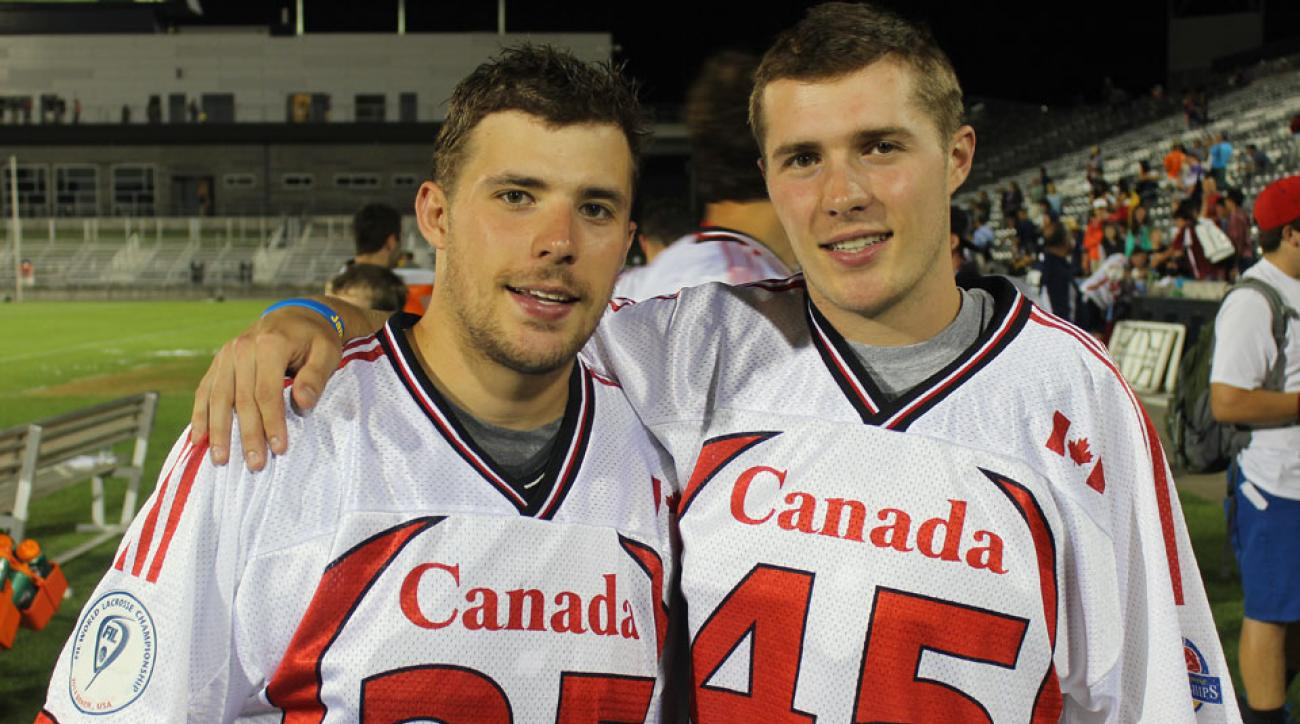 Jeremy (left) and Jason Noble helped lead Canada to the World Lacrosse Championship in Denver earlier this months.