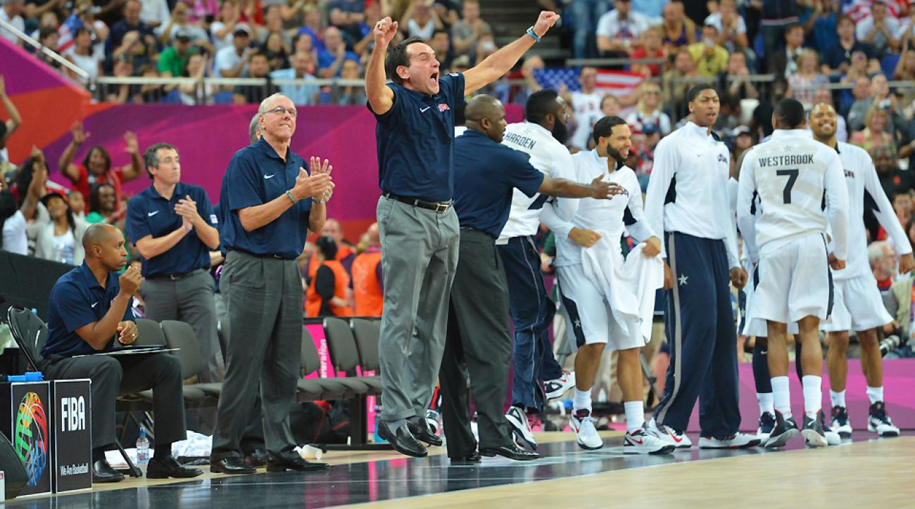 As USA Basketball has expanded its summer reach, Mike Krzyzewski (center, jumping) has benefited both as the coach of Duke and the senior national team.