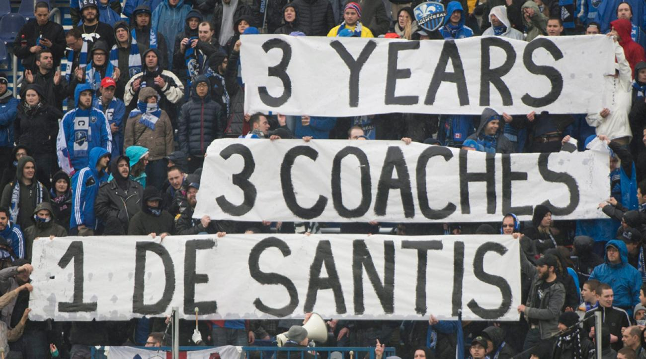 Montreal Impact fans who hoisted these banners in April have received their wish, as Nick De Santis is out as the club's sporting director.