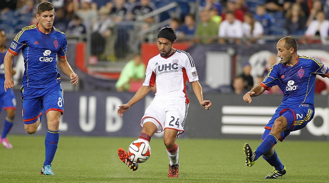 Lee Nguyen (center) had a hand in two of the Revolution's goals against the Rapids.