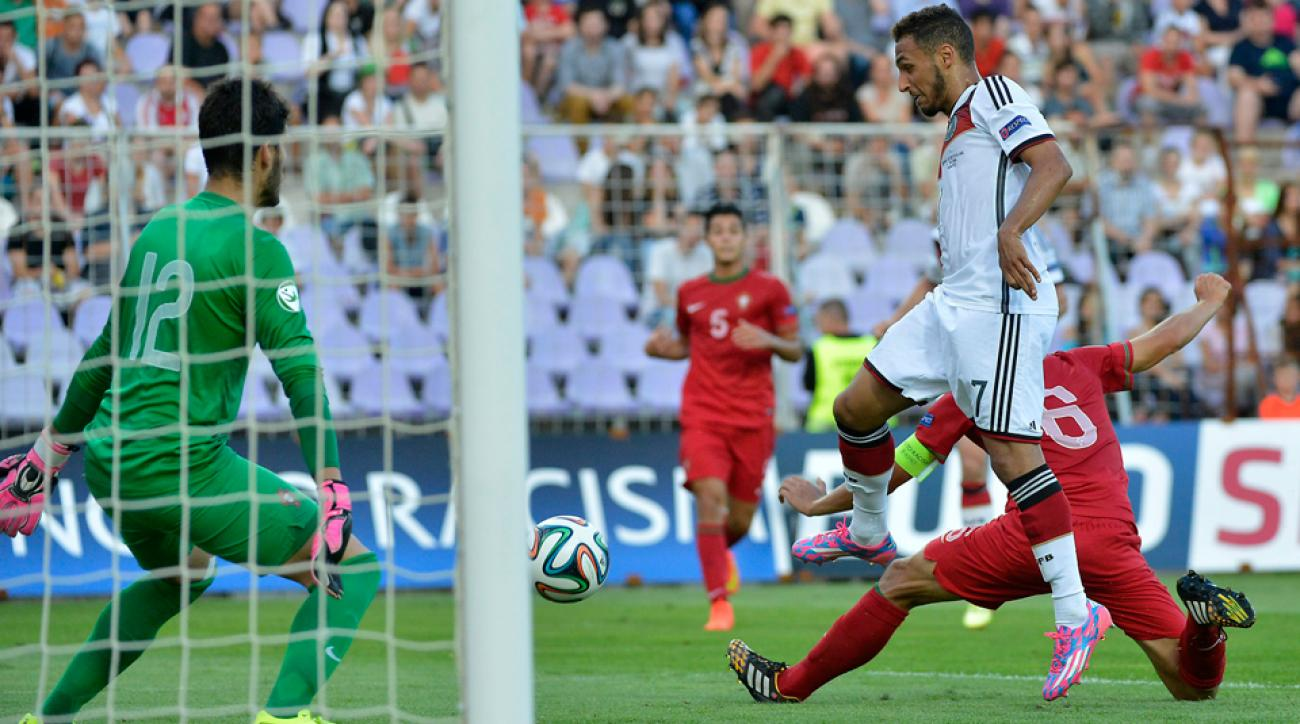Germany's Hany Mukhtar scores the game-winning goal in the European Championship final against Portugal.