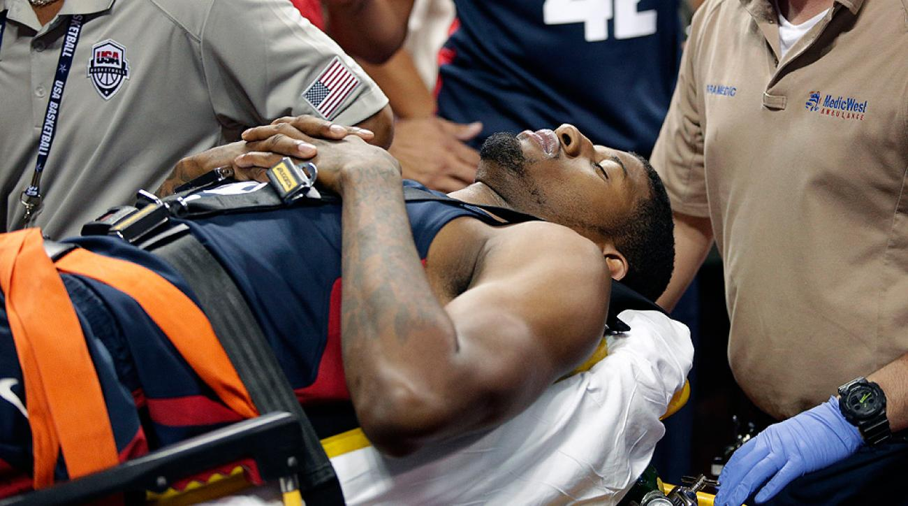 Paul George suffered a gruesome lower leg injury during USA Basketball's showcase in Las Vegas.