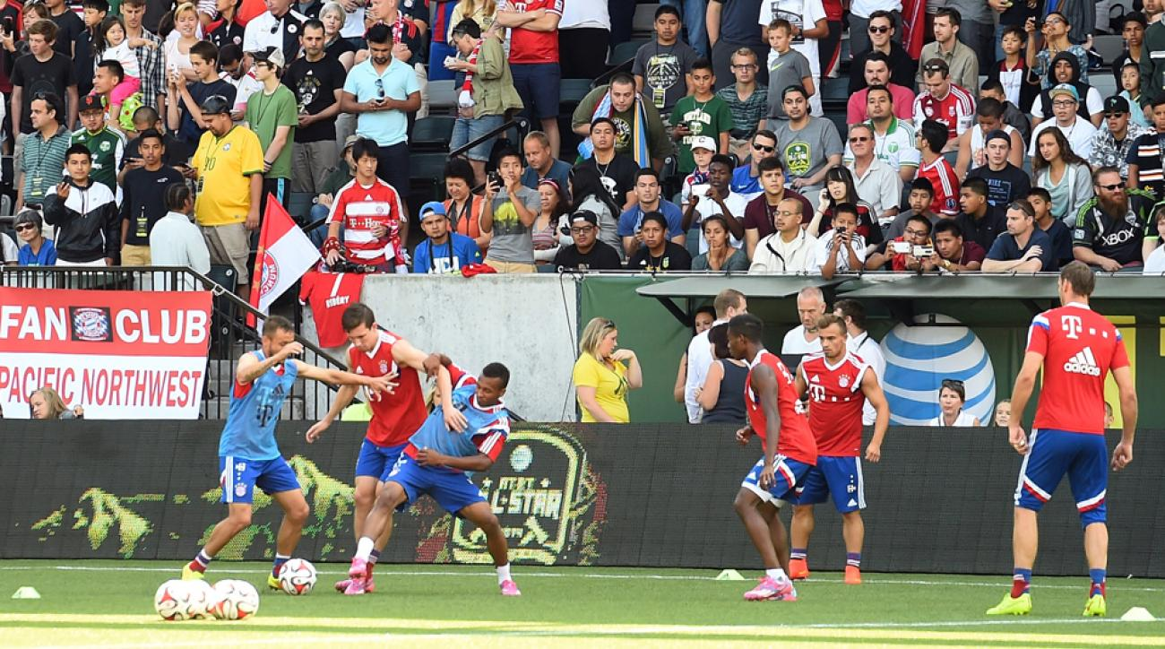 Fans in Portland watch as Bayern Munich – including U.S. international Julian Green, third from left – train ahead of Wednesday's MLS All-Star Game.