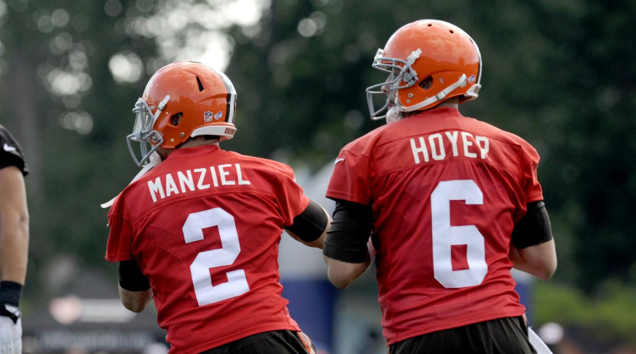 Cleveland Browns quarterbacks Brian Hoyer and Johnny Manziel