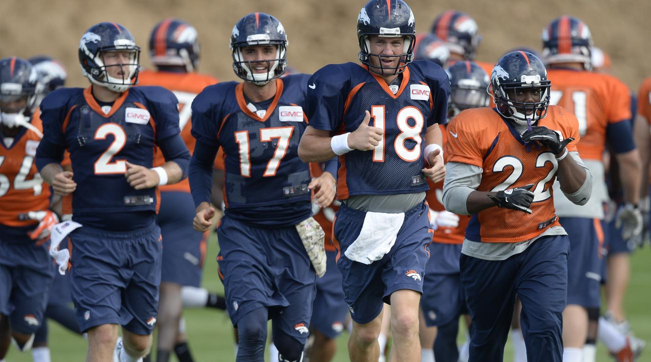 denver broncos training camp 2014 peyton manning depth chart