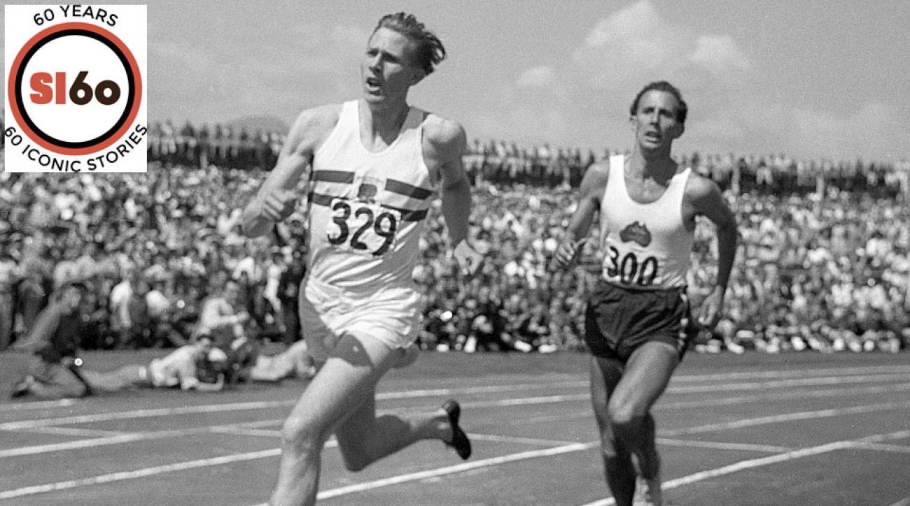 Roger Bannister, left, beat Australia's John Michael Landy