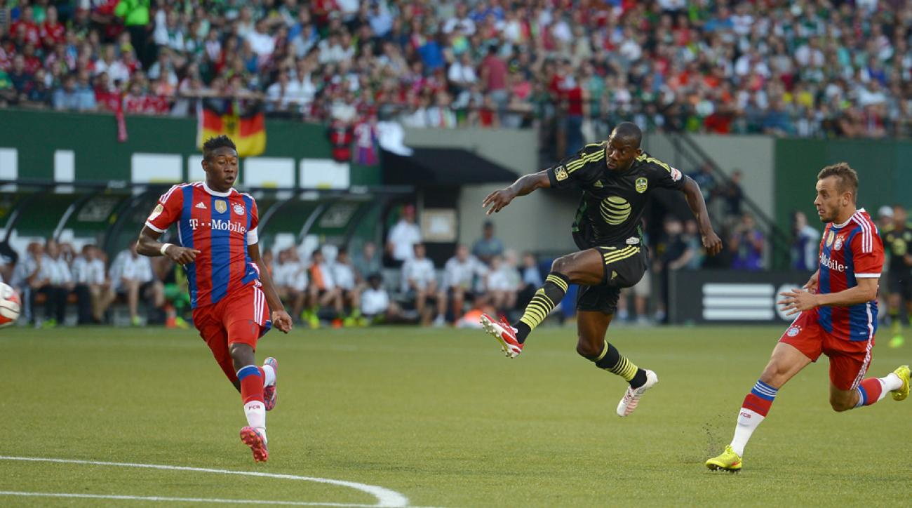 MLS All-Star Bradley Wright-Phillips rips an equalizer against Bayern Munich in Portland Wednesday night.