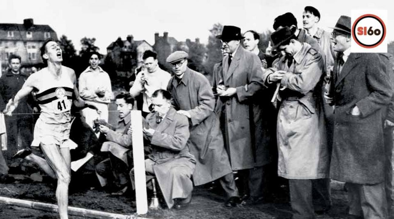 Roger Bannister breaks the four-minute mile in 1954.