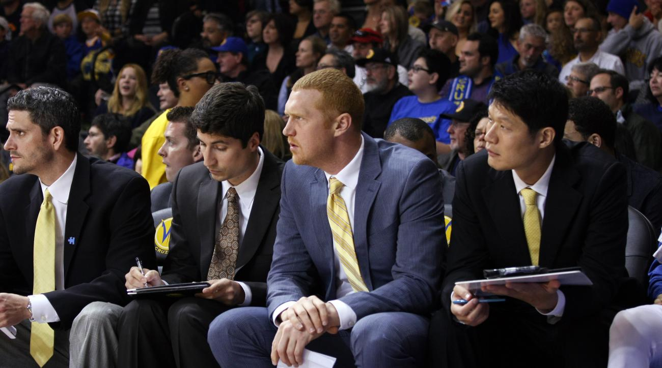 Former Warriors assistant coach Brian Scalabrine, middle, took a shot at former Warriors head coach Mark Jackson for not having high enough expectations of the team.