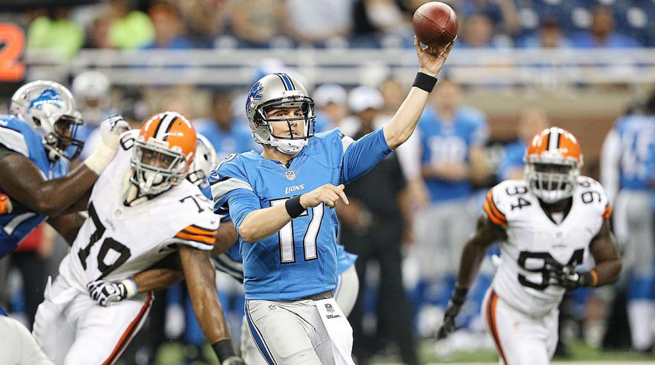 Kellen Moore throws a pass during the Lions' preseason opener against the Browns