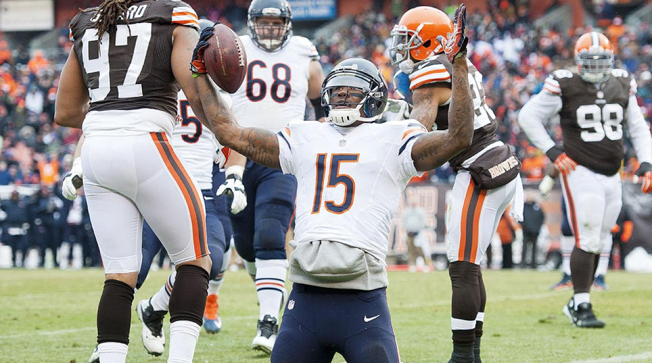 Brandon Marshall celebrates a touchdown during a 2013 game against the Browns