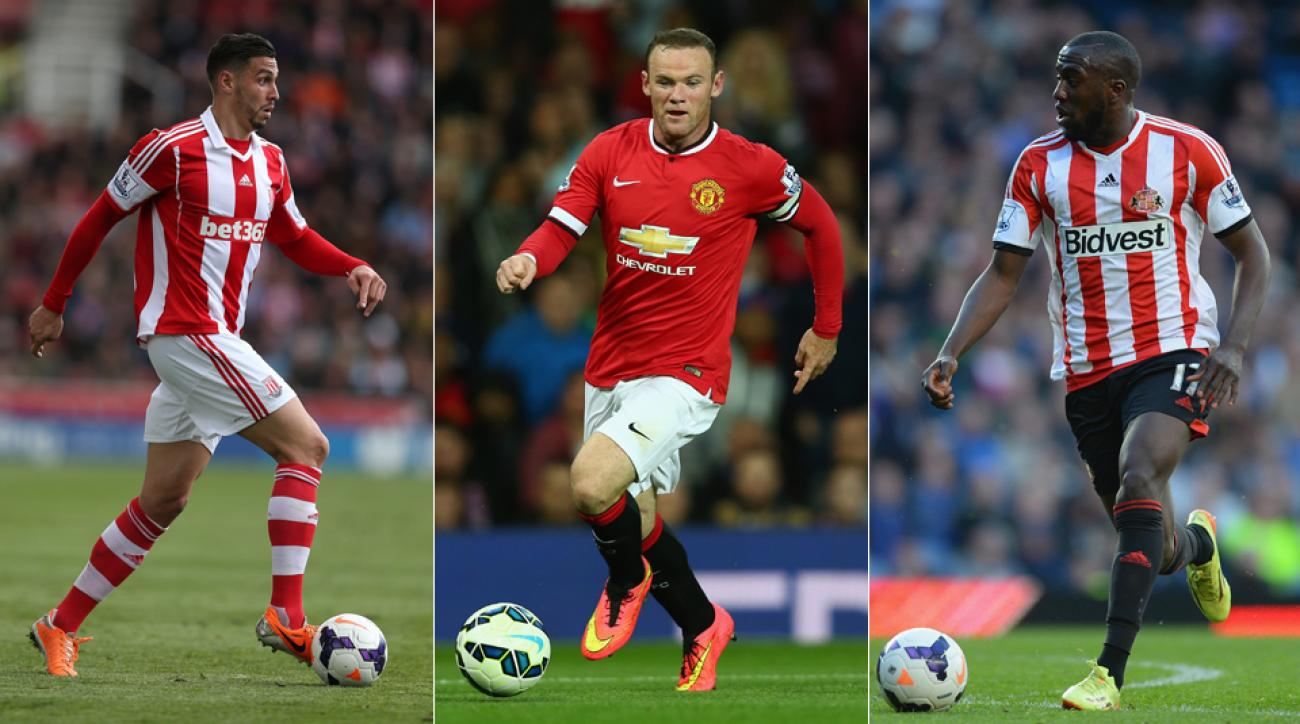 From left, Stoke City's Geoff Cameron, Manchester United's Wayne Rooney and Sunderland's Jozy Altidore, all with an eye on team improvement in 2014-15.