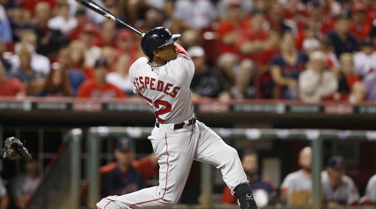 Boston Red Sox outfielder Yoenis Cespedes left Wednesday's game with a right hand contusion.