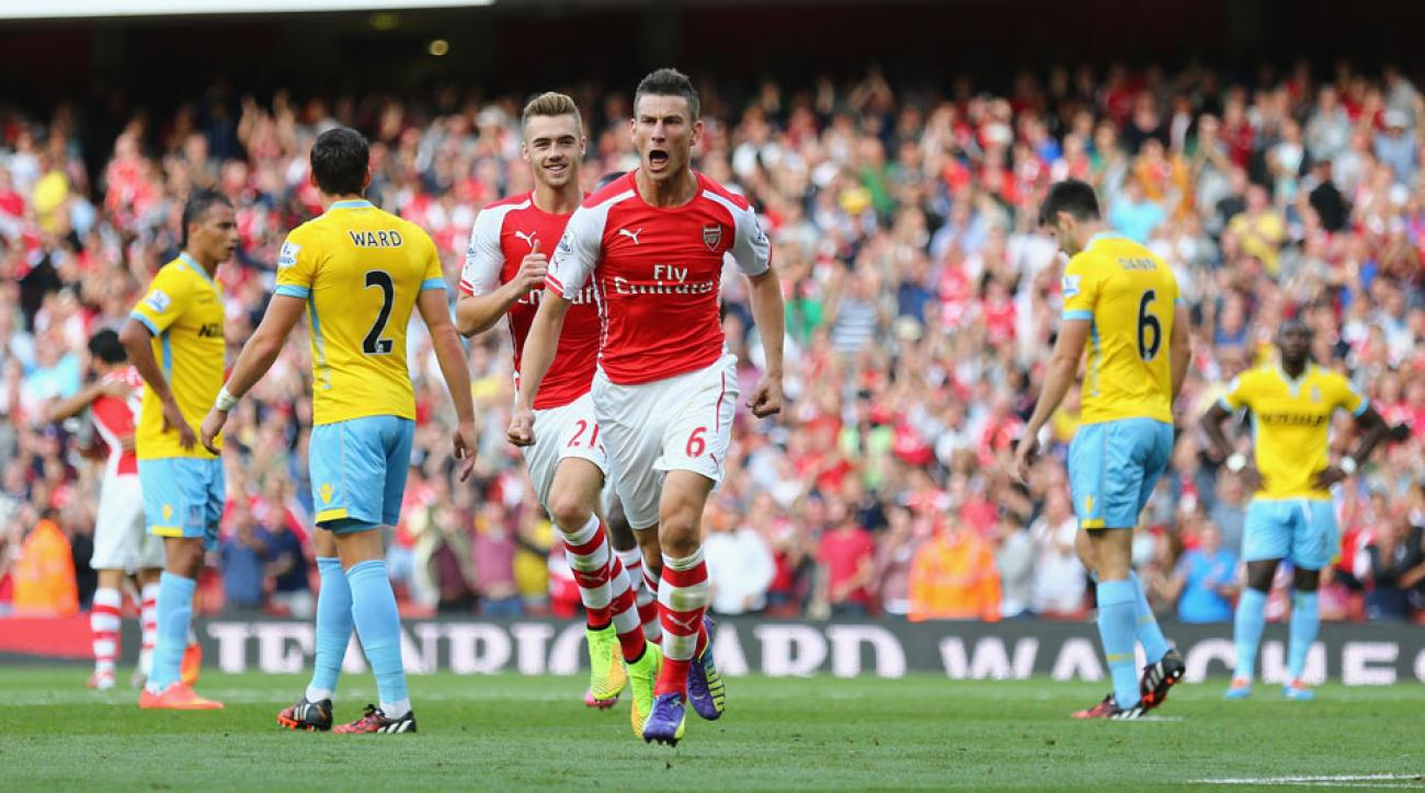 Arsenal's Laurent Koscielny netted the equalizing goal with a header just before halftime against Crystal Palace.